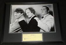 Moe Howard Signed Framed 1965 Check & Photo Poster Display JSA Three Stooges