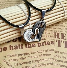 Couples his and her Heart Stainless Steel black & Silver pendant black cord