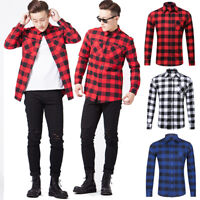 Mens' 100% Cotton Casual Plaid Shirts Pocket Long Sleeve Slim Fit Flannel Shirts
