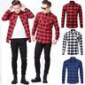 Hommes hauts Cotton Casual Plaid Shirts Pocket Long Sleeve Slim Flannel  04