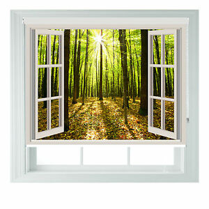 Window Sunny Forest Printed Photo black out roller blinds various sizes