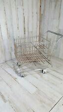 "Small Metal Shopping Cart 11"" long x 11"" tall Rolling Wheels realistic replica"