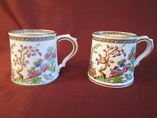 2 Beautiful SPODE COPELAND'S ENGLAND Hand Painted CHINOISERIE MUG Gold Trim
