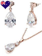 Teardrop Decó 18ct Rose Gold Drop Earrings & Necklace Wedding Gift Jewellery Set