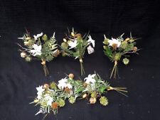 JOB LOT CLEARANCE 6 x White Poinsettia & Pine Foliage Bunch Christmas Decoration