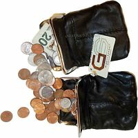 2 New women's leather change purse, Black Brown coin purse money bag coin wallet