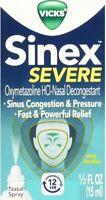 Vicks Sinex Severe Nasal Spray with Menthol 0.50 oz (Pack of 2)