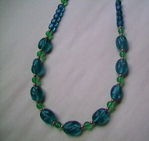 """GLASS bead necklace- 22"""" long-Pretty Turquoise / Teal Color Glass Bead necklace"""