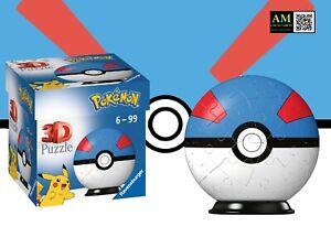Ravensburger 3D Puzzle - Pokemon Pokeball Great Ball - 54 Pieces - New
