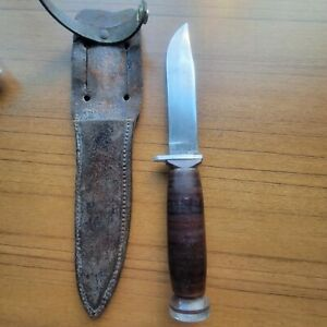 Vtg Schrade  NY USA H-15 Fixed Blade Hunting Knife Leather Handle & Sheath