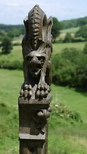 SUPERB 19thc OAK CARVED GOTHIC CHURCH CORBEL WITH WINGED GARGOYLE C.1850