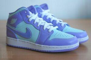 Nike Air Jordan 1 AJ1 Mid GS 7Y (Women US W8.5) 'Purple Aqua' (NEW)