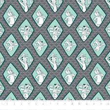 "Camelot Yogi Bear & Boo Diamonds Iron Grey 100% cotton 43"" fabric x yard"