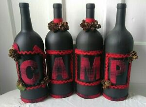 Hand Painted Wine Bottles CAMP Set of 4 Black Red Wool Letters MANTLE Display