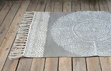 Mandala Grey Printed Cotton Rug, Handmade, Tribal, boho, gift 3x5 Ft
