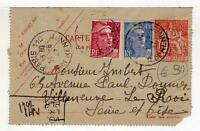 A4822) FRANCE 1947 PC Telegrph  Paris Villeneuve
