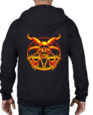 FIRE & SKULL PENTAGRAM FULL ZIP HOODIE - Pagan Goth Wicca Satanic Witch T-Shirt