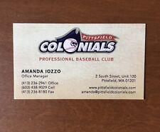 Baseball Business Card - Pittsfield Colonials  - MA