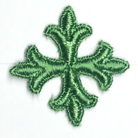 """Vintage French Cross Applique Embroidery 1"""" Sew-on Green H Patches 12 Pieces"""