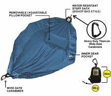 Hammock – 100% Parachute Material - Backpackers Double – Ultra Light– Light Blue