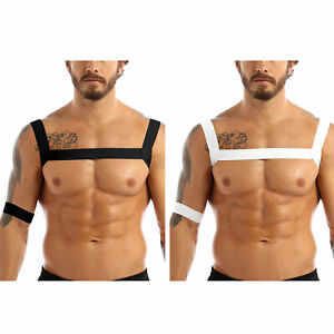 US Mens Body Chest Harness Belt Elastic Shoulder Muscle Support Brace Costume