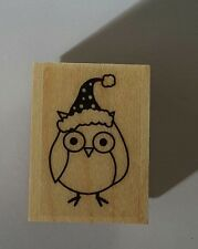 Wood Backed Rubber Stamp Hero Arts Merry Christmas Owl Santa Hat