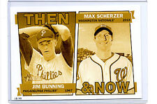 2015 Topps Heritage Then & Now 5x7 - GOLD 10/49 - Jim Bunning & Max Scherzer