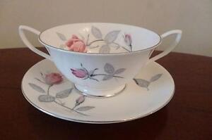 Vintage Royal Albert Trent Rose Patterned 2 Handled Soup Bowl & Saucer