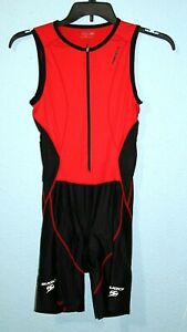 SUGOI sz M Cycling Skin One Piece Body Speed Suit Sleeveless Medium Red Black