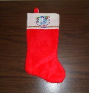 "VTG 1970s 11"" H FUZZY RED CHRISTMAS STOCKING WHITE FUZZY CUFF RIK-RAK NWT"