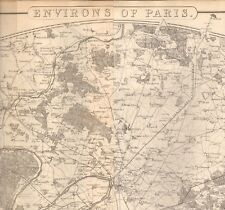 1863  LARGE ANTIQUE MAP - DISPATCH ATLAS- ENVIRONS OF PARIS