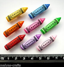 CRAYONS Craft Buttons 1ST CLASS POST School Boy Girl Plastic Pencil Drawing Art
