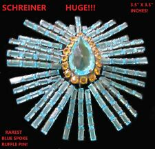 SCHREINER Massive & RARE Old Aqua Blue Spoke RUFFLE Pin Brooch!