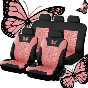 9pcs Full Set Car Seat Covers For Interior Accessories - Front & Rear Black/Pink