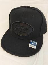 New York Jets Adult Mens Fitted Size 7 5/8 Reebok Flatbrim Black Cap Hat $26