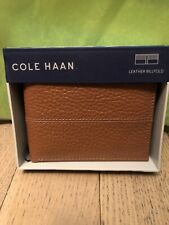 NEW  COLE HAAN BILLFOLD MEN LEATHER WALLET Brown (Cognac) Retail $78 New in Box