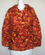 Adini Long Sleeve Handmade and Hand Dyed V-neck Pullover Swtr in Multi Red S/M
