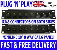 """10 """"cat.6 Plug 'n' Play RJ45 keystone patch panneau Miniline des données de réseau Ethernet"""