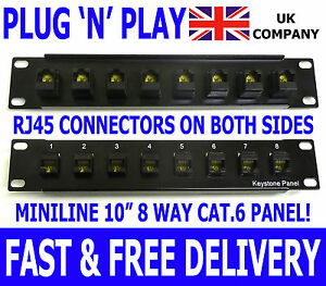 "10"" Cat.6 Plug 'n' Play RJ45 Keystone Patch Panel Miniline Ethernet Network Data"