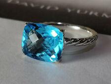 David Yurman Color Classics Ring with Blue Topaz, Size 7