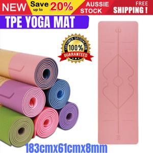 Premium TPE Yoga Mat Block Fitness Gym Exercise Pilates Non Slip Mat Durable Eco