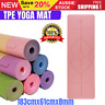 TPE Yoga Mat Block Fitness Gym Exercise Pilates Non Slip Mat Durable Eco Thick
