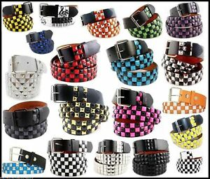 UNISEX Men Women 3-Row Metal Pyramid Studded  Belt  Checker Punk Rock Goth Emo