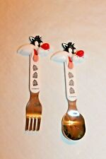 NEW IN PACKAGE SET OF 2 SYLVESTER 1998 WARNER BROTHERS  FORK AND SPOON LOONEY
