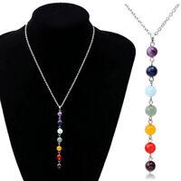 Fashion Women 7 Chakra Gemstone Bead Necklace Yoga Reiki Healing Balance Jewelry