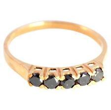 Genuine 0.75ct Black Diamond 9ct 9K Solid Gold Ring  Bravo Jewellery