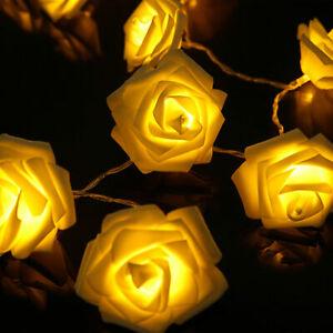 LED Lichterkette Beleuchtung 20 Rosen Blumen Weihnachten Deko Rosenblütenkette