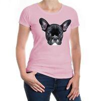 Damen Kurzarm Girlie T-Shirt French-bulldog-Face französische Bulldogge dog