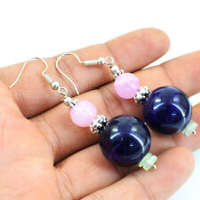 105.00 Cts Earth Mined Purple Amethyst & Pink Rose Quartz Round Beads Earrings