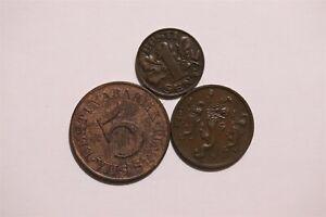 ESTONIA 1ST REPUBLIC - 3 BRONZE COINS LOT B34 II10